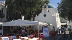 Outdoor Patio in front of the only catholic church in Mykonos Stock Footage
