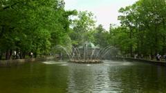 Fountain Of The Sun. Peterhof. Fountains. Petrodvorets. 4K. - stock footage