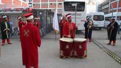 Musicians in traditional turkish clothing Stock Footage