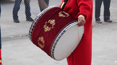 Traditional Turkish musician playing a drum Stock Footage