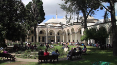 The third courtyard in Topkapi Palace Istanbul Stock Footage