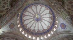 Close up Interior shot of the Blue Mosque Dome - stock footage