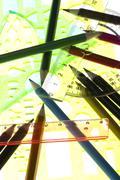 measurement tool with pencil macro - stock photo