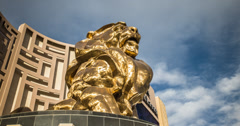4K time lapse of clouds over the famous MGM Grand Lion on the Vegas strip Stock Footage