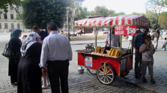 Corn Cart in Istanbul Stock Footage