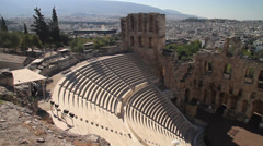 Panning shot of the Odeon of Herodes Atticus Stock Footage