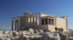 Wide shot of The Erechtheion in Athens Stock Footage