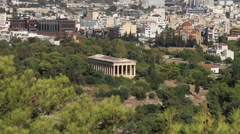 Wide aerial shot of the Temple of Hephaestus Stock Footage