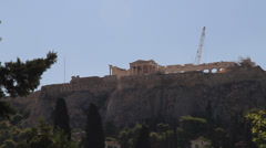 Wide shot of The Acropolis of Athens - stock footage