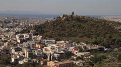 Aerial shot of Athens from the Acropolis Stock Footage