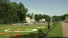 Fountain Bowl. Peterhof. Fountains. Petrodvorets. 4K. - stock footage