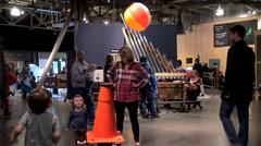 Visitors in the Exploratorium Museum of Science. Stock Footage