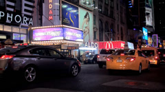 Types of Manhattan at night. Road traffic on West 42nd street Stock Footage
