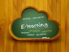 Chalkboard in a shape of a cloud. e-learning concept. vector. Stock Illustration
