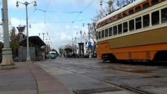 Heritage streetcar at the Ferry Building Stock Footage