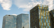 Stock Video Footage of 4K time lapse of clouds over the Mandarin Oriental hotel and Veer Tower in Vegas
