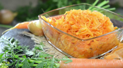 Bowl with carrot salad (not loopable) Stock Footage