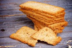 Crunchy Bread Slices - stock photo