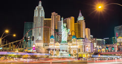 4K time lapse of the New York New York casino hotel on the Las Vegas strip Stock Footage