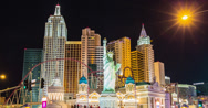 Stock Video Footage of 4K time lapse moving down the New York casino hotel on the Las Vegas strip