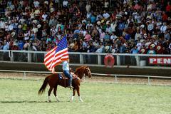 American Flag on Horseback - stock photo