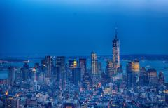 Wonderful night view of Lower Manhattan from Empire State Buildi Stock Photos