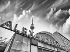 Alexanderplatz in Berlin, Germany. Black and White view with tow - stock photo