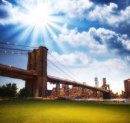 The Brooklyn Bridge as seen from Brooklyn Bridge Park, New York Stock Photos
