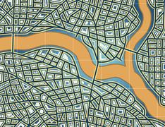 Streets and river Stock Illustration
