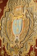 heraldic motifs in the castle chambord. .valley of the river cher. france - stock photo