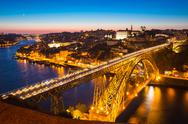 Stock Photo of dom luiz bridge porto at dusk