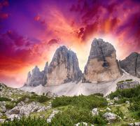 Wonderful Mountain Peaks at sunset - stock photo