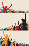 Color crowd silhouettes Stock Illustration