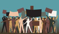 protest group - stock illustration