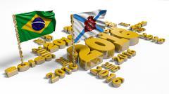 2016 Brazilian and Rio de Janeiro Flags - stock illustration