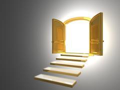 Big Golden Door opened on white - stock illustration