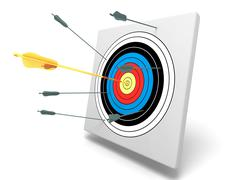 Gold arrow in center with other bad arrows Stock Illustration
