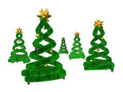 Five green design pines and golden balls Stock Illustration