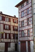 Typical Basque houses in the city of Bayonne - stock photo