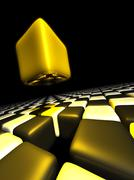 Gold cube alone above many anonymous cubes Stock Illustration