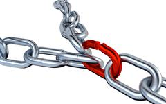 Two Metallic Chains with One Red Link Stock Illustration