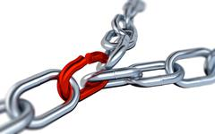 Two Blurred Metallic Chains with One Red Link Stock Illustration