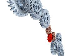 Some Silver Gears with one Red - stock illustration