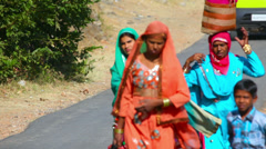 Women and children of Hindustani family goind to the market. Rajasthan, India Stock Footage