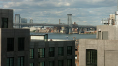 View of Williamsburg Bridge. DUMBO Brooklyn rooftop Stock Footage