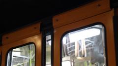 BUDAPEST OLD METRO TRAIN DOOR CLOSES DEP CU - stock footage