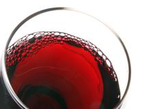 Glass of red wine view from above - stock photo