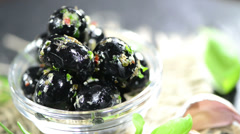 Bowl with black olives (loopable) Stock Footage