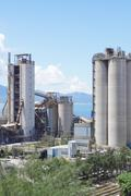 Cement Plant,Concrete or cement factory, heavy industry or construction industry - stock photo
