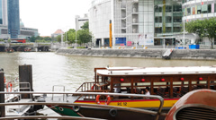 4k Ultra HD time lapse video on cruise boats of Singapore River Stock Footage